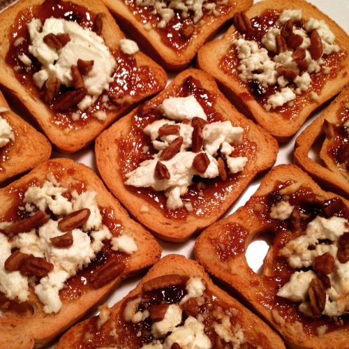 Fig Jam and Goat Cheese on Mini-Toast